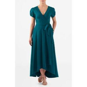 eShakti Cap Puff Sleeve High Low Wrap Dress XS/Sm